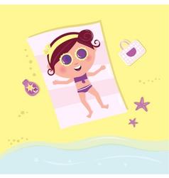 Sunbathing girl on the beach vector