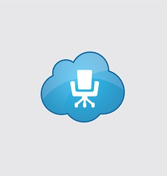 Blue cloud office chair icon vector