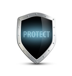 Metal shield with the inscription protect isolated vector