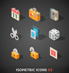 Flat isometric icons set 5 vector