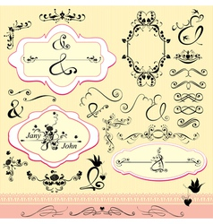 Vintage ornaments and frames- calligraphic design vector