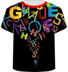 T shirt template- colorful letters vector