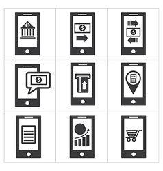Mobile banking icon vector