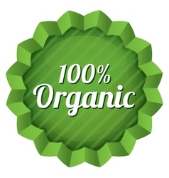 Organic food label tag ecological green sticker vector