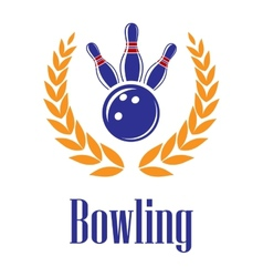 Bowling elements in laurel wreath vector