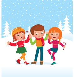 Children are happy winter day vector