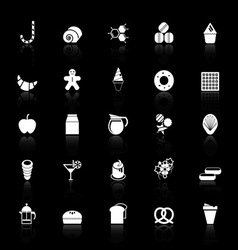 Sweet food icons with reflect on black background vector