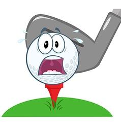 Panic golf ball over tee vector