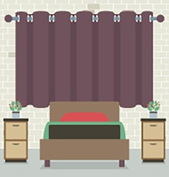 Single bed in front of curtain and brick wall vector