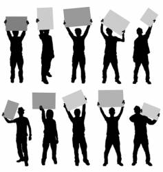 People holding sign vector