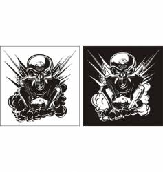 Bw skull with engine set vector