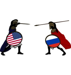 American and russian warriors vector