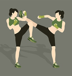 Young woman fighting body combat vector