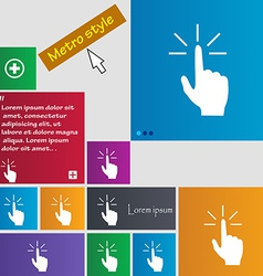 Click here hand icon sign metro style buttons vector