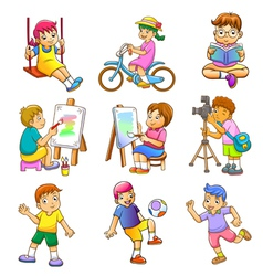 Children play vector