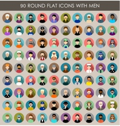 Set of round flat icons with men vector