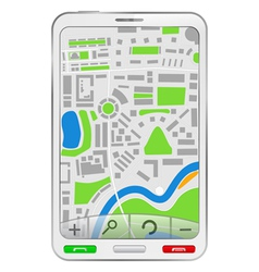 Gps navigator in mobile phone vector