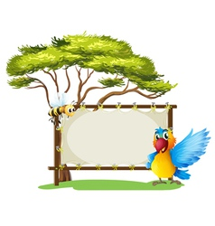 An empty framed banner with a parrot and a a bee vector
