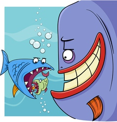 Bigger fish saying cartoon vector