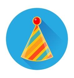 Celebratory striped clown cap icon vector