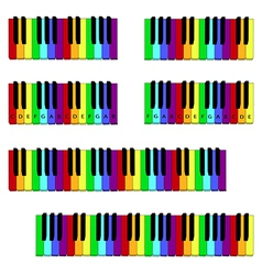 Colored piano keyboard set vector
