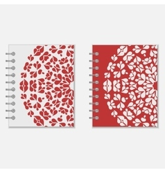 Two red and white notebook covers design vector