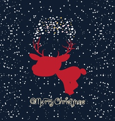 Merry christmas card with deer vector