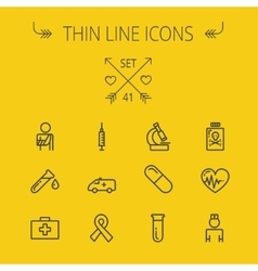 Medicine thin line icon set vector