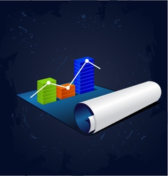 Roll of blue paper with graph or diagram vector