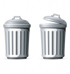 Metal trash can vector