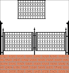 Iron fence with bricks vector