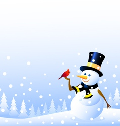 Snowman and christmas bird vector