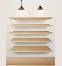 Wood shelf on wall vector