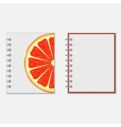 Notebook cover design with bright grapefruit vector