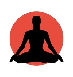 Human silhouette in yoga pose vector