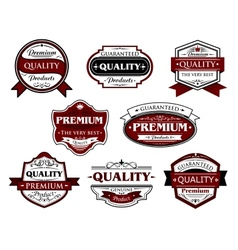 Assorted premium quality labels and banners vector
