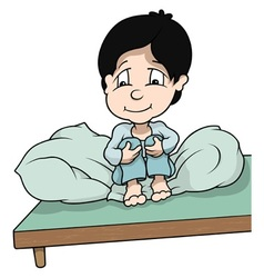 Boy sitting in bed vector