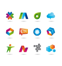Set logo design and web icons vector