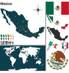 Mexico map world vector