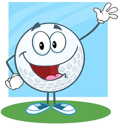 Golf ball character waving for greeting vector