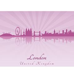 London skyline in purple radiant orchid vector