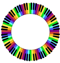 Round colored piano keyboard frame vector