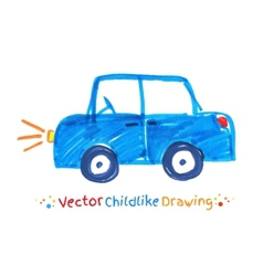Felt pen childlike drawing of vehicle vector