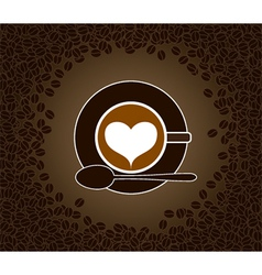 Cappuccino heart patterned vector