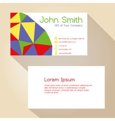 Color funky triangles simple business card design vector