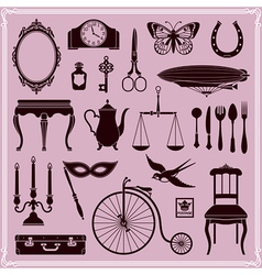 Vintage objects and icons vector