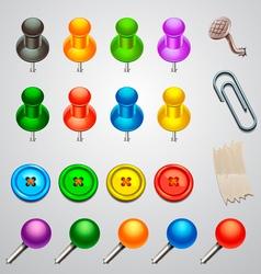 Colorful push pin vector
