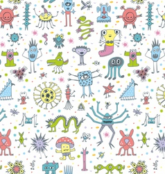 Funny monsters seamless patterns vector