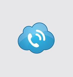 Blue cloud call icon vector