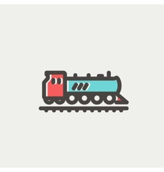 Railroad train thin line icon vector